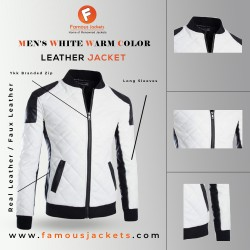 Men's White Warm Color Leather Jacket| Plaid Embroidered Jacket