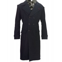 Sherlock Holmes Black Wool Double Breast Coat | Mens Trench Coat