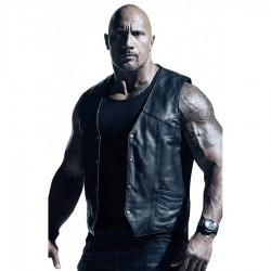 Dwayne Johnson (Rock Wrestler) Fast 8 Vest | Mens Black Leather Vest