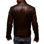 Distressed Dark Brown Slim Fit Leather Jacket For Man