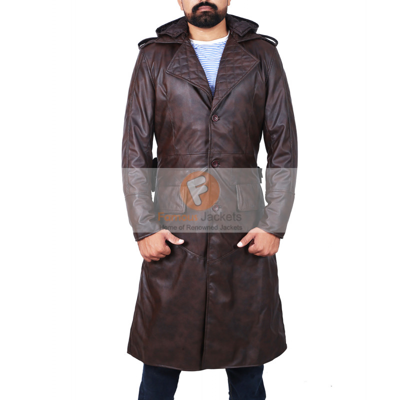 a03770ff Assassin's Creed Brown Leather Trench Coat Hooded Jacket | Men's Long  Leather Jacket