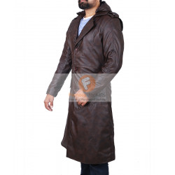 Assassin's Creed Brown Leather Trench Coat Hooded Jacket | Men's Long Leather Jacket