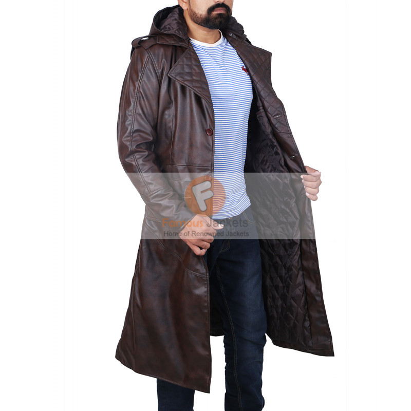 Creed Brown Leather Trench Coat Hooded Jacket