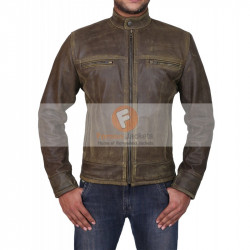 Triple Stitched Cafe Racer Moto Vintage Distressed Brown Biker Leather Jacket | Leather Jacket For Biker