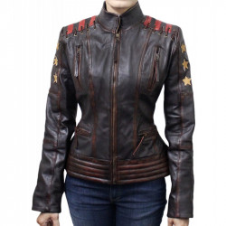 Cafe Racer Vintage Classic Women's OX Blood Waxed Brown Leather Jacket | Leather Jacket For Women's
