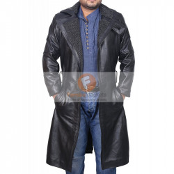 Blade Runner Ryan Gosling Men's Black Leather Faux Fur Coat | Leather Coat Sale