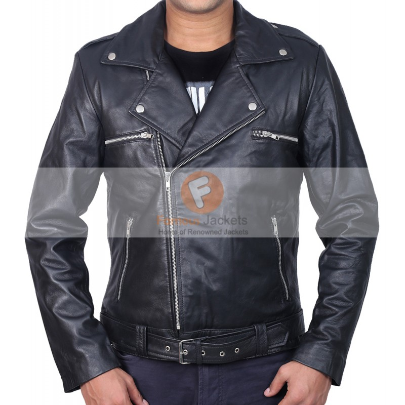 cc0bef429 The Walking Dead Negan Jeffrey Dean Morgan Black Biker Leather Jacket |  Men's Leather Jacket