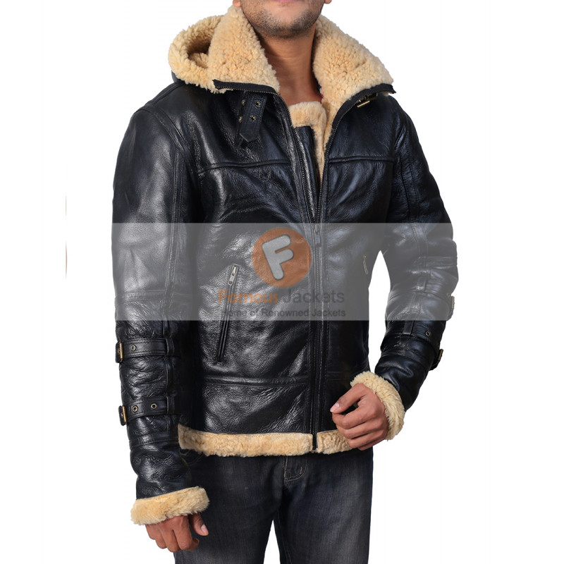 Bomber B3 Ivory Sheepskin Fur Leather Jacket with Hoodie