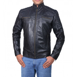 Cafe Racer Men's Classic Black Biker Real Leather Jacket | Motorcycle Men's Leather Jacket