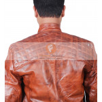Classic Diamond Tan Cafe Racer Waxed Brown Rider Leather Jacket | Men's Leather Jacket