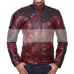 Guardians Of Galaxy Vol 2 Star Lord OX Blood Two Tone Red Leather Jacket | Mens Leather Jacket