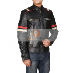 Retro Cafe Racer Classic Motorcycle Red Stripe Biker Leather Jacket | Men's Leather Jacket Uk