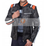 Retro Cafe Racer Classic Motorcycle Double Stripe Distressed Black Leather Jacket | Leather Jacket For Men's
