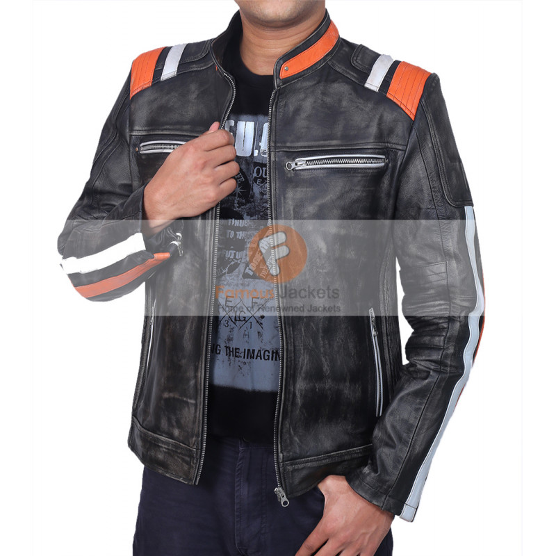 bd6fb9278 Retro Cafe Racer Classic Motorcycle Double Stripe Distressed Black Leather  Jacket | Leather Jacket For Men's