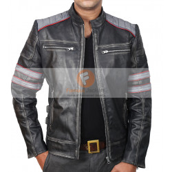 Retro Cafe Racer Classic Motorcycle Double Stripe Black Leather Jacket | Men's Leather Jacket