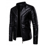 Slim Fit Leather Motorcycle Jacket | Classic Black Casual Jackets For Mens