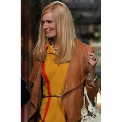 2 Broke Girls Beth Behrs (Caroline Channing) Brown Leather Jacket | Brown Leather Jacket Women