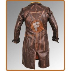 Aiden Pearce Brown Leather Long Coat | Watch Dogs Aiden Pearce Cosplay Trench Coat