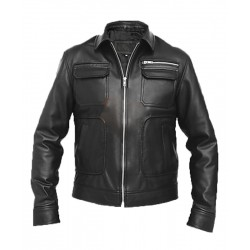 Apollo Bomber Black Leather Jacket | Leather Bomber Jacket Mens