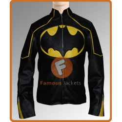 Batman Begin Motorcycle Jacket with Yellow Stripes | Black Batman Leather Jacket