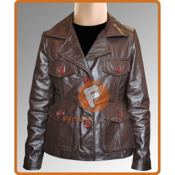 Bedtime Stories Keri Russell Brown Jacket | Womens Leather Jacket Sale