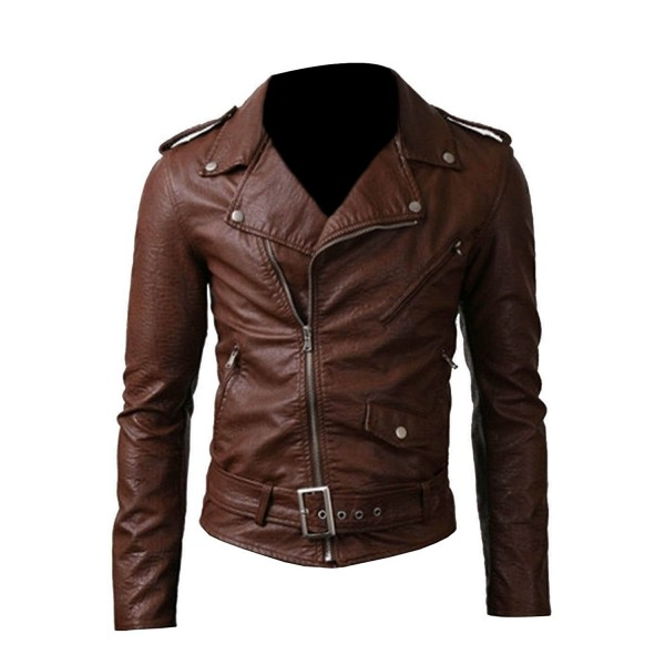 Belted Rider Fancy Brown Leather Jacket | Men's Leather Jacket
