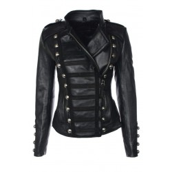 Benedetta Military Ladies Black Leather Jacket | Womens Leather Jackets UK