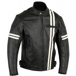 Black Biker Jacket with White Stripes | Black Motorcycle Leather Jacket