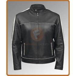 Black Denver Classic Leather Jacket | Black Jacket With White Stripes