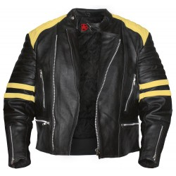 Black Motorcycle Jacket With Yellow Stripes | Black Leather Jacket Mens
