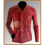 Brad Pitt (Tyler Durden) Stylish Red Leather Jacket | Fight Club Movie Jacket
