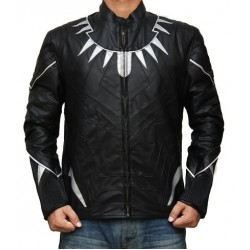 Captain America Black Panther Real Leather Jacket | Black Leather Jacket Mens