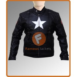 Captain America First Avenger Chris Evans Black Jacket Costume | Black Leather Costume