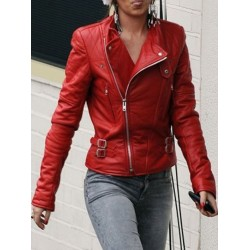 Cheryl Cole Santa Claus inspired Jacket|Red Leather Jacket Womens