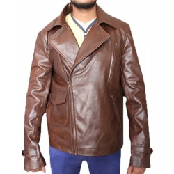 Chris Evans Captain America Brown Motorcycle Jacket | Mens Biker Brown Leather Jacket
