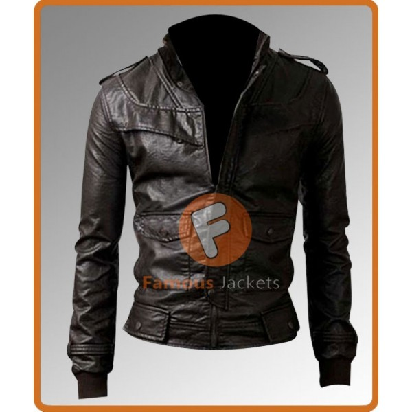 Designer Slim Fit Brown Biker Jacket | Men's Biker Leather Jacket
