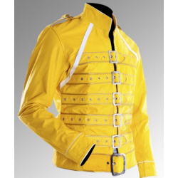 Freddie Mercury Queen Concert Yellow Leather Jacket Costume | Mens Leather Jackets UK