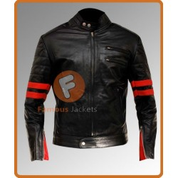 Hybird Mayhem Brad pitt Black Jacket With Red Stripes | Hybird Mayhem Real Leather Jacket