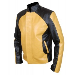 Infamous Cole MacGrath Black And Yellow Leather Jacket | Men's Leather Jacket