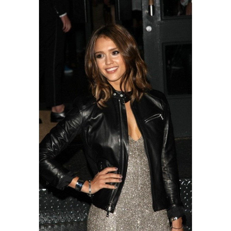 1eef3d509a Buy Jessica Alba Stylish Women Black Leather Jacket