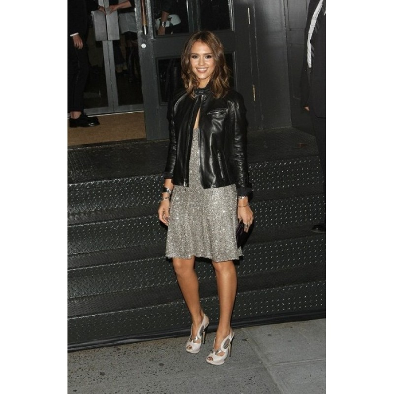 cdcca21708 ... Jessica Alba Black Style Black Leather Jacket | Womens Leather Jacket  ...