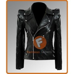 Kate Moss Leather Biker Jacket | Black Leather Jacket Women