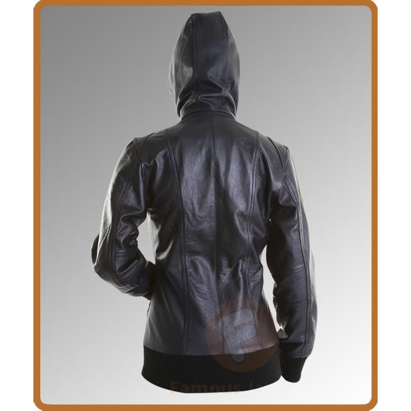 Ladies Hooded Leather Bomber Black Jacket
