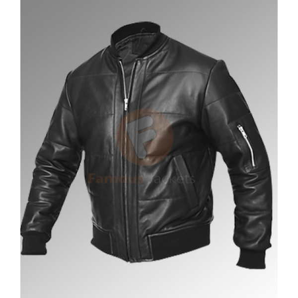 Men's Vintage Retro Bomber Black Jacket | Bomber Men's Leather Jacket