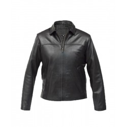 Men's Basic Tone Bomber Black Jacket | Celebrity Leather Jacket For Sale