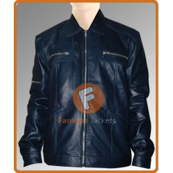 Men's Navy Blue Designer's Leather Jacket | Mens Blue Leather Jacket