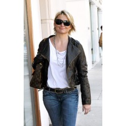 Michelle Pfeiffer Spotted Beverly Hills Black Jacket | Leather Jacket For Sale