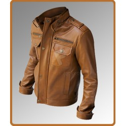 Nero Slim Fit Brown Leather Jacket | Mens Leather Jacket