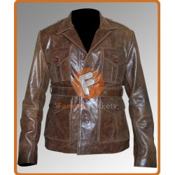 Nim's Island Jack Rusoe (Gerard Butler) Distressed Brown Jacket | Mens Brown Leather Jacket