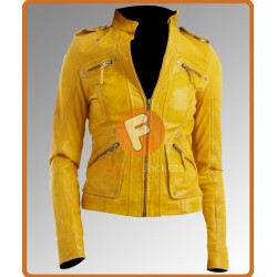 Saint Laurent Womens Yellow Jacket | Women's Leather Jacket